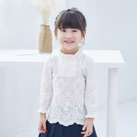 Wholesale 2016 Fashion style children clothes girls Shirts kids loose Shirts Lovely Lace white Autumn Winter Comfortable Cotton Korean Casual