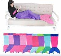 Wholesale New Colors Soft Handmade Mermaid Tail Fleece Blanket Lap Throw Bed Wrap Fin Warm Cocoon Costume Girls Kids Children Sleeping Bag MC0276