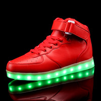 Wholesale 2016 New Men and Women Fashion LED Lights USB Charging Colorful high top Shoes Lovers Casual Fashion Shoes for Adults Led Shoes