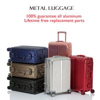 aluminum mold making - 20 quot color metal luggage bag Aluminum Made with a One Piece Mold Design rolling suitcase trolley bags travel case luggage travel bags