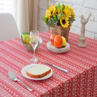 Wholesale Red deer Christmas tree tablecloth rural stripe cotton square table table cloth cover towel tea table table mat