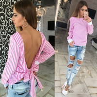 blouse free size - Cute Women Blouse Fashion White Striped Open Back Sexy tops Long Sleeve Shirt Women Summer Clothes plus size
