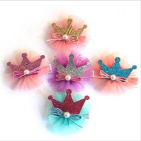 african american fabrics - Fashion Girls Crown Pearl Hair Clip For Children Kids Hair Barrettes Festival Jewelry Bulk Sale Princess Party Accessories H201