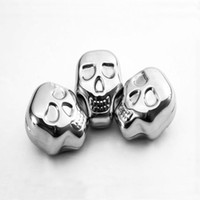 Wholesale Personality Stainless steel skull Ice cubes Whiskey Ice drink Cooler Wine Appliances for Bar