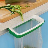 Wholesale Home Useful Green Trash Garbage Bag Rack Attach Holder Over Cabinet cupboard Door Kitchen Bathroom