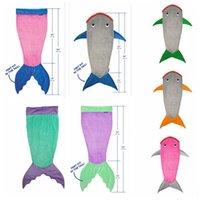 air conditioning cold - Kids Shark Sleeping Bags Mermaid Tail Soft Fleece Blanket snuggle in Sleeping Bag Bedding Wrap kids Air Condition Blankets KKA958