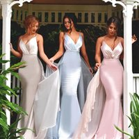 Reference Images Sweetheart Crepe 2017 New Sexy Chiffon V-neck Mermaid Designer Bridesmaid Dresses Stretch Satin Spaghetti-Straps Maid Of Honor Gowns Wedding Guests Dresses
