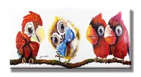 abstract bow ties - Cute Owl with Bow Tie and the Birds Oil Paintings Handpainted Canvas x90cm