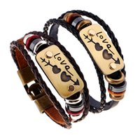 Cheap 10Pcs Lot Cupid Lovers Bracelets Wooden Beaded Bangle Cowhide Leather Multi Layer Unisex Bracelet Jewelry Gift