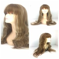 african american highlights - Long Wavy Curly Mixed Color Wigs Synthetic Blonde Wig With Highlights Brown African American Wig For Black Women