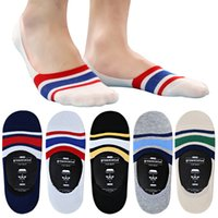 bamboo silica - Men slip invisible socks Bamboo fiber socks male invisible silica gel National wind hit the color and retail