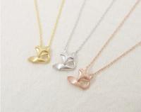 achat en gros de or 18k renard pendentif-Mode 18k Gold Rose-or Fox Collier Tale collier pendentif pour les femmes cadeau Livraison gratuite