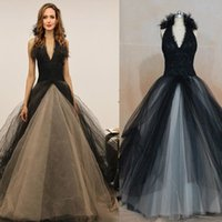 angelina jolie wedding - Inspired by Angelina Jolie Black And White Lace Wedding Dresses Ball Gown Handmate Flowers Tulle Halter Fashion Gothic Bridal Gowns