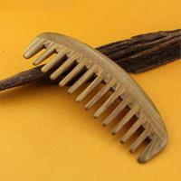 al por mayor compras cuidado de la salud-Peine de madera de diente peine peine natural hecho a mano de madera de sándalo verde no Static Drop Shop, cuidado de la salud del cabello cepillo anti estática