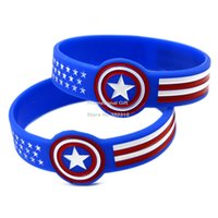 america wristband - New Arrival PC Wide Band Captain America Silicone Wristband Wrist Watch Shape Bracelet