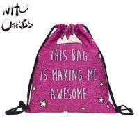 awesome travel - Who Cares Awesome Crown D Printing Men Bags Mochila Feminina Bolsos Mujer Travel Drawstring Bag Women Backpacks New Brand