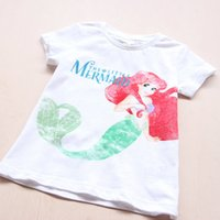 Wholesale 2016 Summer cartoon Girls Glitter Graphic Mermaid T shirts for children Tee Baby Clothing Sleeve Boutique Outfits Kids Clothes