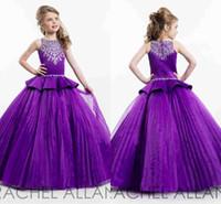 Wholesale 2016 New Purple RACHEL ALLAN Girls Pageant Dresses Cute Crew Neck Tulle Rhinestone Crystal Beads Glitz Ball Flower Girls Gowns Custom Made