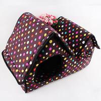 51x26x37cm Pet Supply doble cremallera superior Bungalow Dot Los perros de la perrera del gato / de perro plegable camas para mascotas para el verano / primavera / otoño / invierno