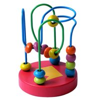 Wholesale Wooden Circles Bead Wire Maze Roller Coaster Montessori Educational Toy for Baby Kids Chilrden