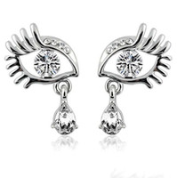 Wholesale New Long Eyelashes Big Eyes With Rhinestone Stud Earrings Angel s Tears With Crystal Stud Earrings Ladies Fashion Earrings