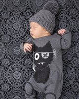 Wholesale 2016 Baby Ins Cotton Rompers Infant Autumn Long Sleeve Rompers One Piece Toddler little monsters printed One Piece