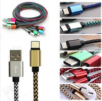 aluminum braided wire - note cable USB type c braid date line Micro V8 nylon charging cables aluminum metal head wire for samsung s6 s7 note i7