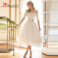 Wholesale Summer Beach Tea Length Vintage s Wedding Dresses with Off the Shoulder Sheer Short Sleeves Beaded Lace Cheap Bridal Gown for Sale