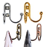 Wholesale 1PCS New Retro Zinc Alloy Double Prong Hooks Door Wall Mount Towel Clothes Hat Hanger Bathroom Colors