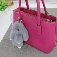 Wholesale 18CM Cute Bunny Rex Rabbit Fur Car Pendant Handbag Charm Keychain Ring Pom