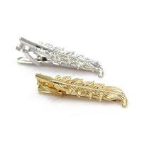 Wholesale CP Men Tie Clasp Creative Feather Shape Necktie Pin Formal Suit Clips Bar Accessory Golden Silver Color YE0023