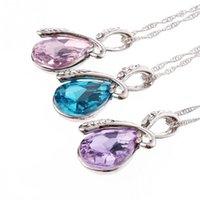 Wholesale Women Lady Elegant Shiny Crystal Rhinestone Pendant Necklace Nice Gift QJ