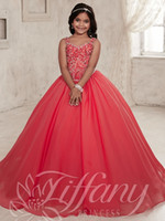 pomegranate - Pomegranate Colour Princess Beaded Bodice Girls Pageant Gowns Sweetheart Iridescent Chiffon Beaded Flower Girls Dresses