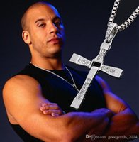 Wholesale Alloy Diamond FAST And FURIOUS Dominic Toretto Cross Pendant cm High quality Silver plated Necklace Stainless Steel Jewelry
