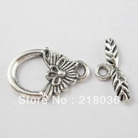 bali silver connectors - Fashion Bali Style Sets Tibetan Silver Tone Flower Leaf Connector Toggle Clasps DIY Making Jewelry A1297