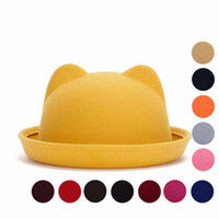 Wholesale 2016 New Spring Fall Winter Fashion Wool Felt Women s Fedoras Hats Retro Vintage Cat Ear Animal Cap Not Deformed Fedoras Caps For Women