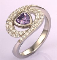 amethyst heart shaped gemstone - Best Price Sterling Silver Engagement Amethyst Heart Shape Wedding Ring for Women Simulated Gemstone Silver Jewelry DL27320A