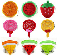 Wholesale 500pcs cute designs Fruit watermelon pineapple strawberry Coin Purses cute emoji coin bag plush pendant smile wallet D732
