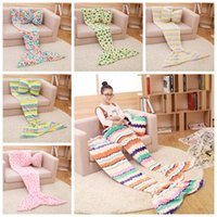 bedroom blankets - Kids Mermaid Blankets Coral Fleece Mermaid Tail Sleeping Bag Sofa Nap Air Condition Blankets Super Soft Bedroom Blankets Floral Dot LJJG391