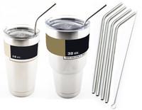 Wholesale PROMOTION inch Yeti Cups Stainless Steel Drinking Straws bent straight straws Sip Well Yeti Rambler Tumbler Straw Brush