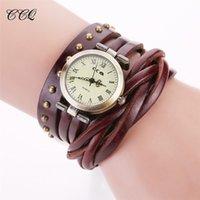 Wholesale Women s Braid Roman Number Watches High Quality Ladies Long Leather Strap Wristwatches Vine Retro Rivet Bracelet Wrap Watch