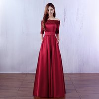 Wholesale 2016 Hot Sale Elegant Burgundy off the Shoulder Half Sleeve Lace Appliques Evening Dress Long Prom Dress Robe De Soiree Longue