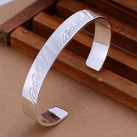 bargain holidays - b014 fashion silver plated bangle letter love Bracelet Bangle Wide Heavy Cuff Plain Broad Chunky Bargain