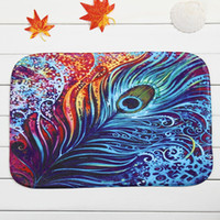 Wholesale Non slip Bath Mat Coral Velvet Rug Shower Carpet x60cm Peacock Feather Cartoon Mats for Bathroom Kitchen
