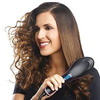 Wholesale Simply straight ceramic electric degital control antiscaled hair straightener brush comb with lcd display DHL Free with retail box