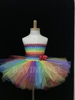 ballet neck dress - Cute Baby Rainbow Color Layers Crochet Corset Tutu Dress Girls Handmade Fluffy Ballet Tulle Dress with Grosgrain Bow Kids Party Tutus