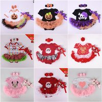 baby dress shoes - 52 Styles Baby Halloween Pumpkins Romper Mickey Dress Shoes Headband Outfits Kids Walking Shoes Christmas Skirts Dot Hairband Set