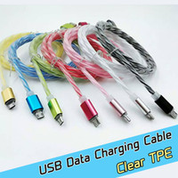 aluminum wiring connectors - Fast charging Aluminum Metal Connector transparent TPE Micro USB Cable usb wire color cables For Samsung S7 edge S6 Android cell Phone