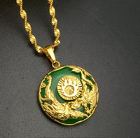 africa charm necklace - Hot Sale K Real Yellow Gold Plated Necklace Africa Jewelry Women Men With Leaf Round Jade Pendant Necklace A071
