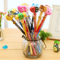 animal creativity - Colorful Wood pecil with Cartoon eraser Cute eraser pencil for students Most Novelty Cute Pencils With Animal Shape Eraser Toppers